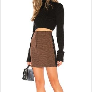 J.O.A. Brown and Black Houndstooth Mini Skirt